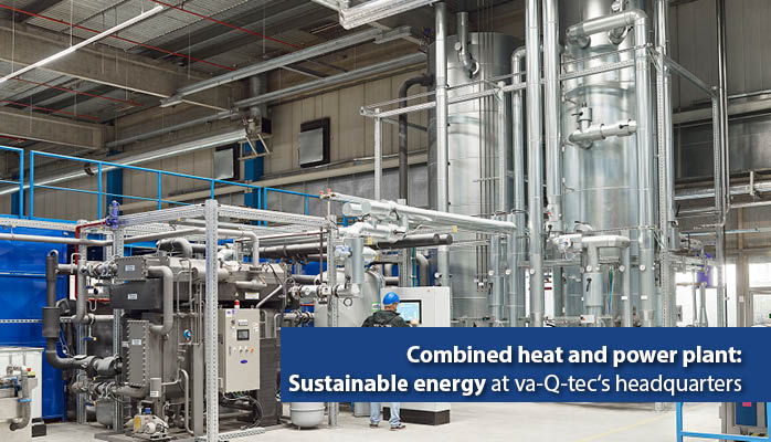 The combined heat and power plant from va-Q-tec: supplier of sustainable energy at the Würzburg headquarters.